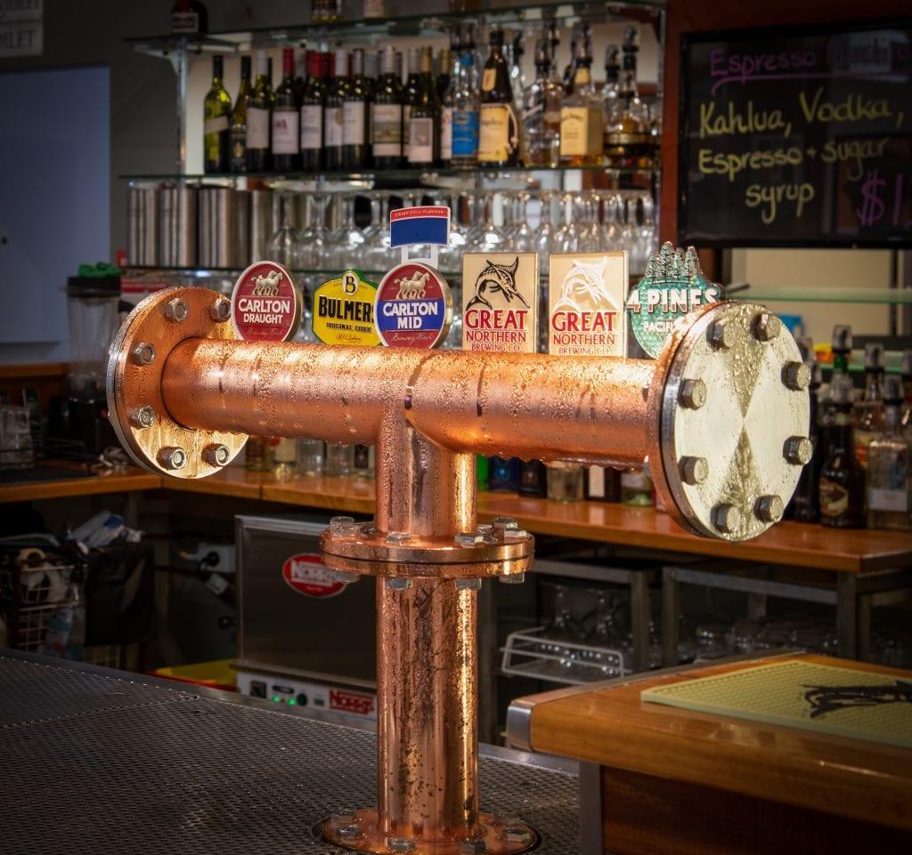 Beer taps at Bago Tavern