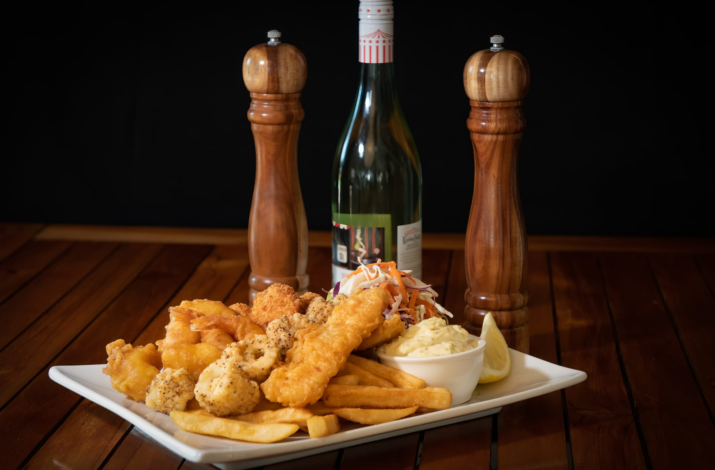 Seafood plate at Bago tavern near Port Macquarie